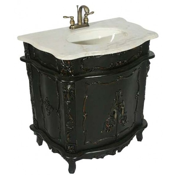 Antique Black Noir Sink Cabinet Vanity Unit - Black Antique French Sink Cabinet- Black Antique Sink Cabinet