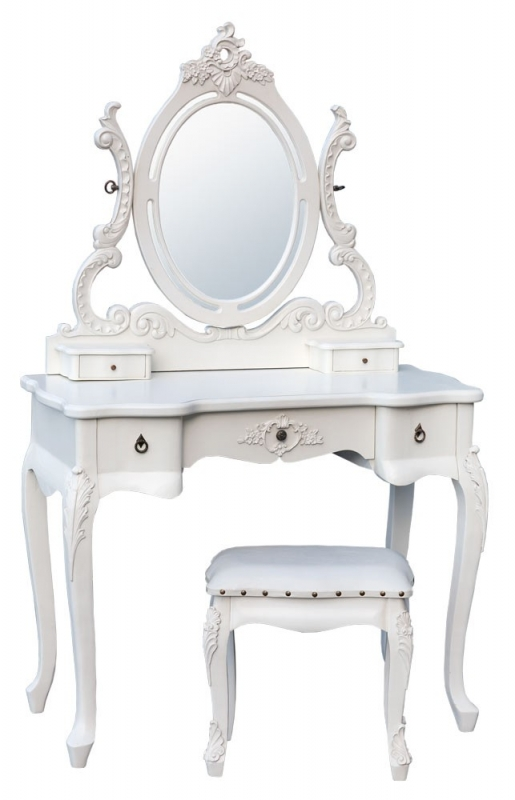 Mirrored Vanity Table And Stool: Antique French White Dressing Table Set Mirror And Stool