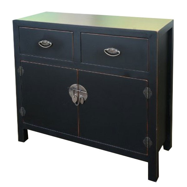 Black Distress Large Cabinet  Chinese Oriental Black Chest Cabinet  Chinese  Style Black Chest Cabinet  Oriental 2 Drawer Distress Cabinet  Oriental  Style ...