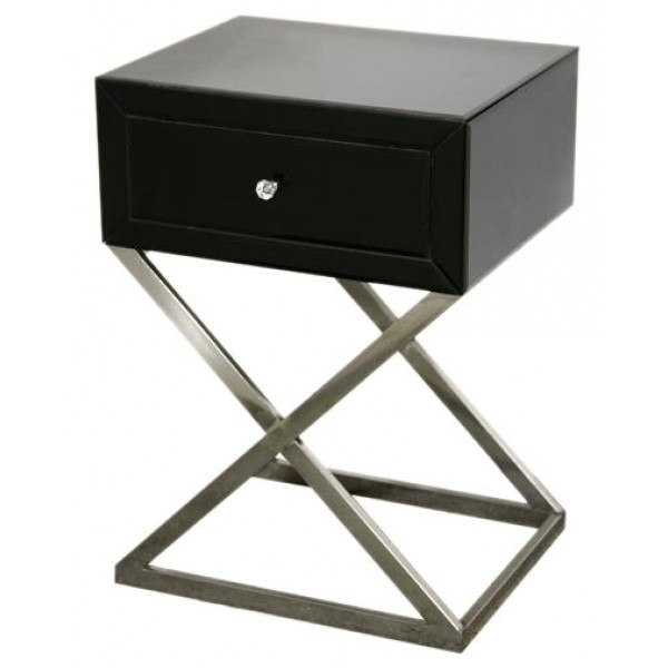 Art Deco Mirrored Bedside Table Black Mirrored Bedside