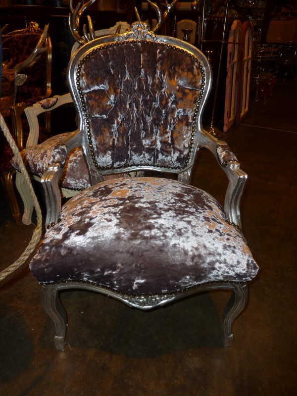 Grey Crushed Velvet French Louis Armchair