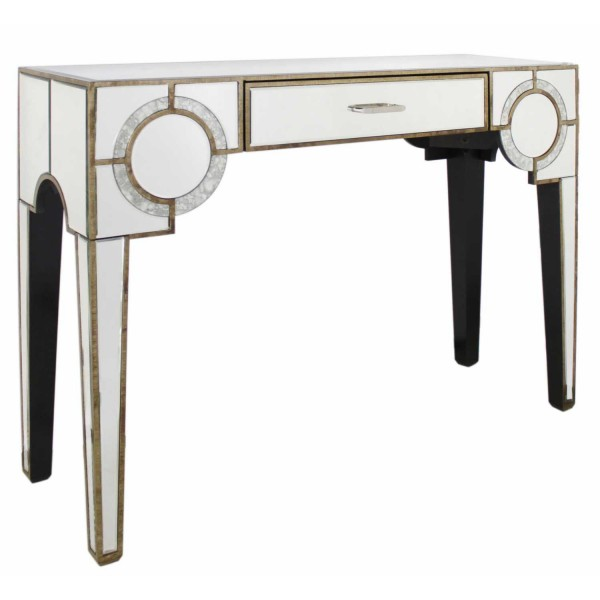 MRF098-00-MR-New-Deco-Mirrored-Antique-Frosted-Glass-1-Drawer-Console-Table
