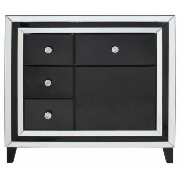 MRF117-00-BLCL-Contemporary-Black-London-Mirrored-Glass-4-Drawer-1-Door-Cabinet