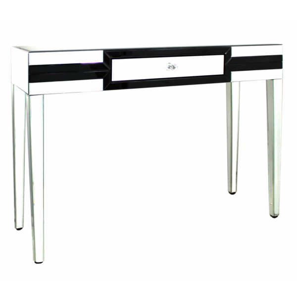 MRF118-00-BLCL-City-Chic-London-Black-and-Clear-Mirrored-Glass-1-Drawer-Console-Table