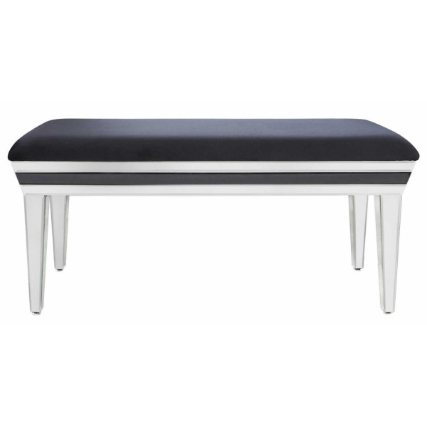 MRF198-00-BLCL-Contemporary-City-Chic-London-Black-and-Clear-Mirrored-Glass-Bench