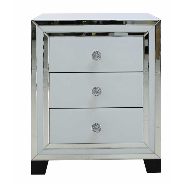 MRF119-00-WHCL-Contemporary-White-London-Mirrored-Glass-3-Drawer-Bedside-Cabinet