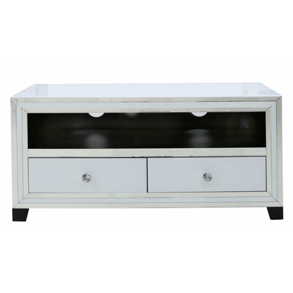 MRF210-00-WHCL-White-Seattle-Madison-Mirrored-Glass-2-Drawer-Entertainment-TV-Unit