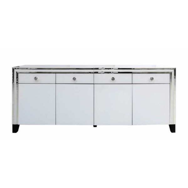 MRF212-00-WHCL-Contemporary-White-London-Mirrored-Glass-4-Door-4-Drawer-Sideboard