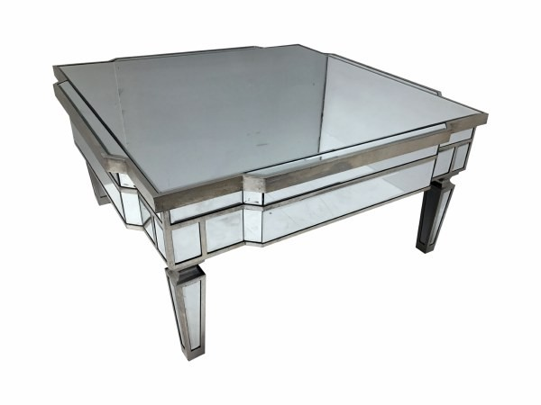 Venetian Vintage Glam Mirrored Silver Square Coffee Table
