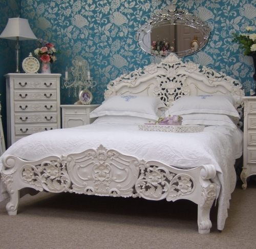 White Rococo Double French Bed