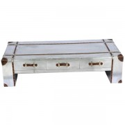 Silver industrial Aluminium metal with drawers coffee table