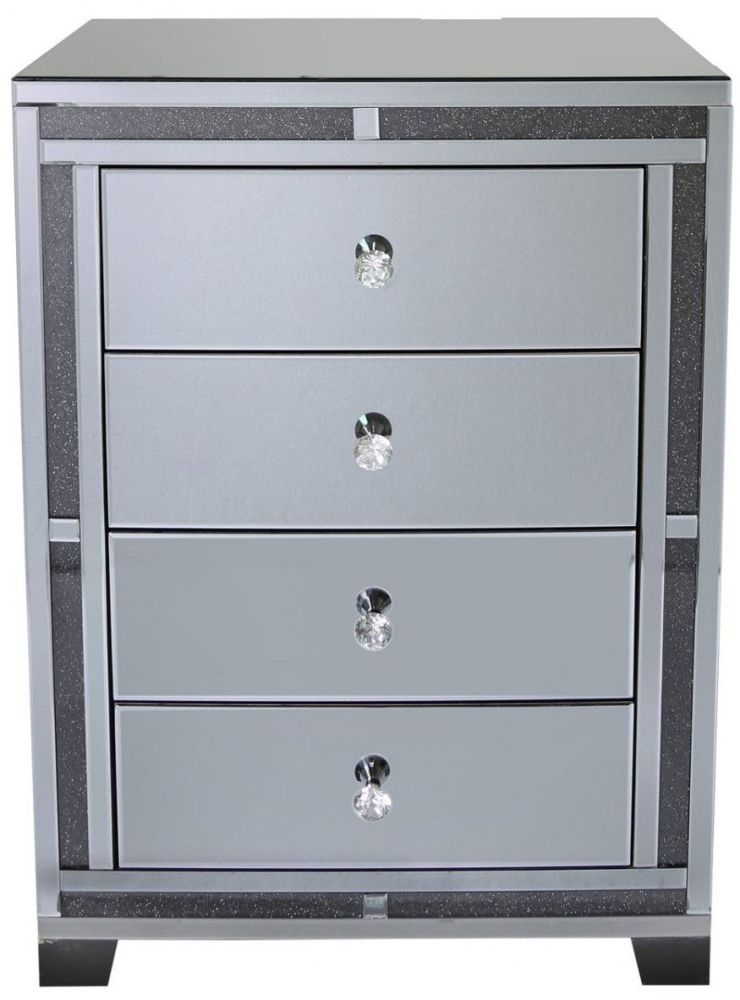 smoked mirrored furniture. Crystal Smoked Mirrored Glass 4 Drawer Chest With Crushed Diamond Trim Furniture F
