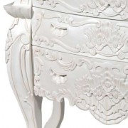 White Rococo Chest 6 Drawers