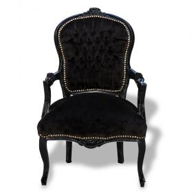 Black velvet louis french armchairs x4