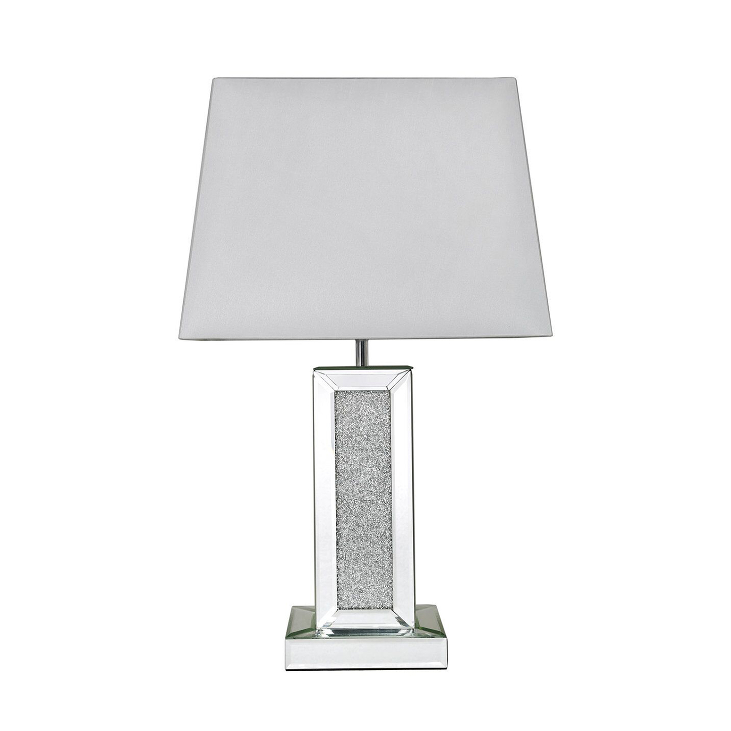 Mirror Crystal Diamond Rectangle Table Lamp With White Shade