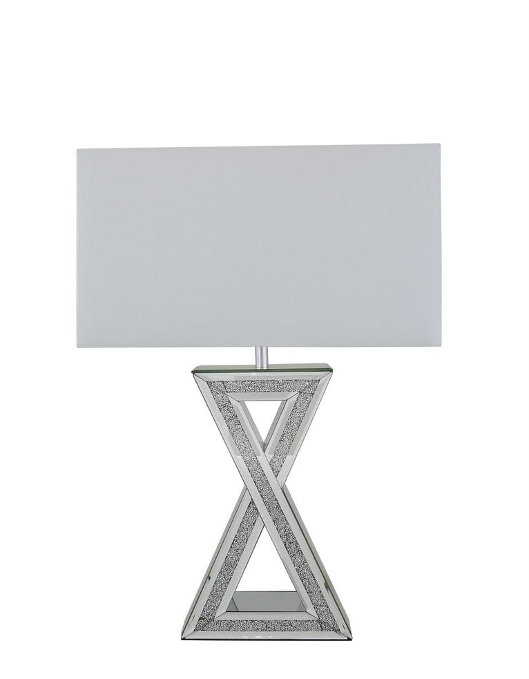 Mirror crystal diamond brick x table lamp with white shade