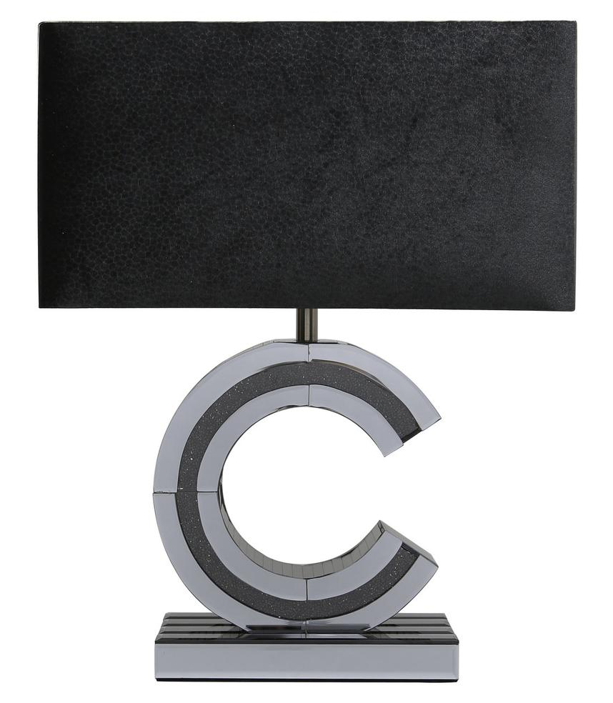 Smoked Crystal Diamond C Table Lamp With Black Shade