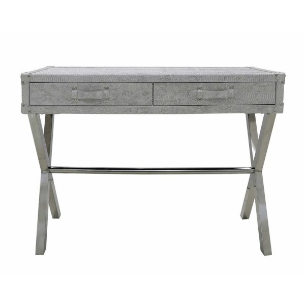 LF008-00-ASV-Antique-Silver-2-Drawer-Faux-Snakeskin-Leather-Console-Table