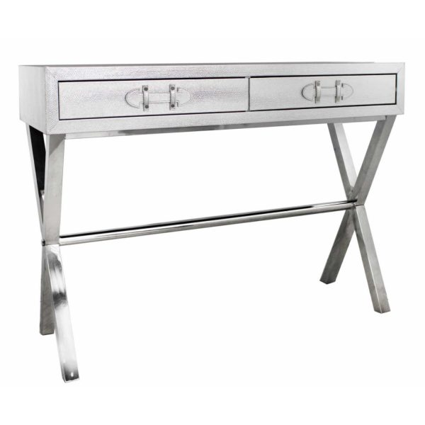 LF008-00-SV-Silver-Snakeskin-Console-Table