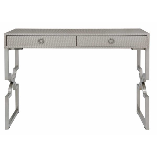 LF039-00-LTP-Light-Taupe-Faux-Weave-Leather-2-Drawer-Console-Table