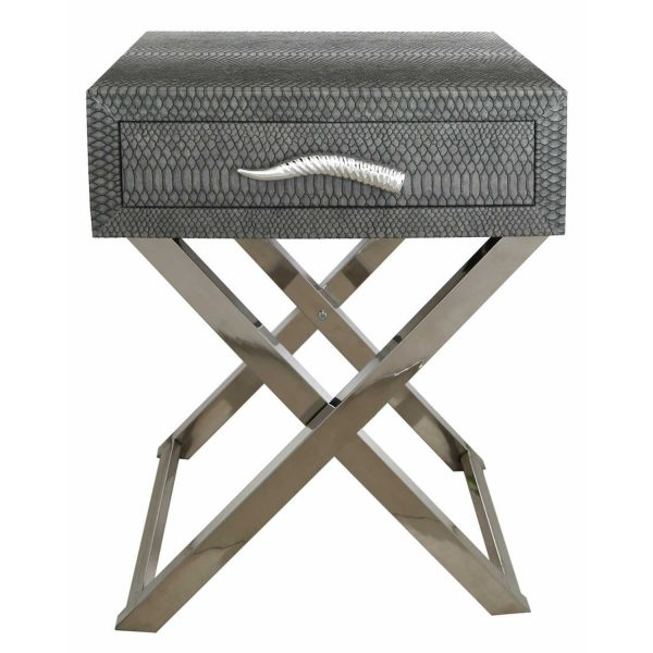 LF055-00-GY-1-Drawer-Grey-Faux-Snakeskin-Console-Table