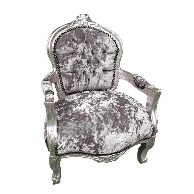 Childs Grey Velvet Armchair- Childs Armchair- Grey crushed ...