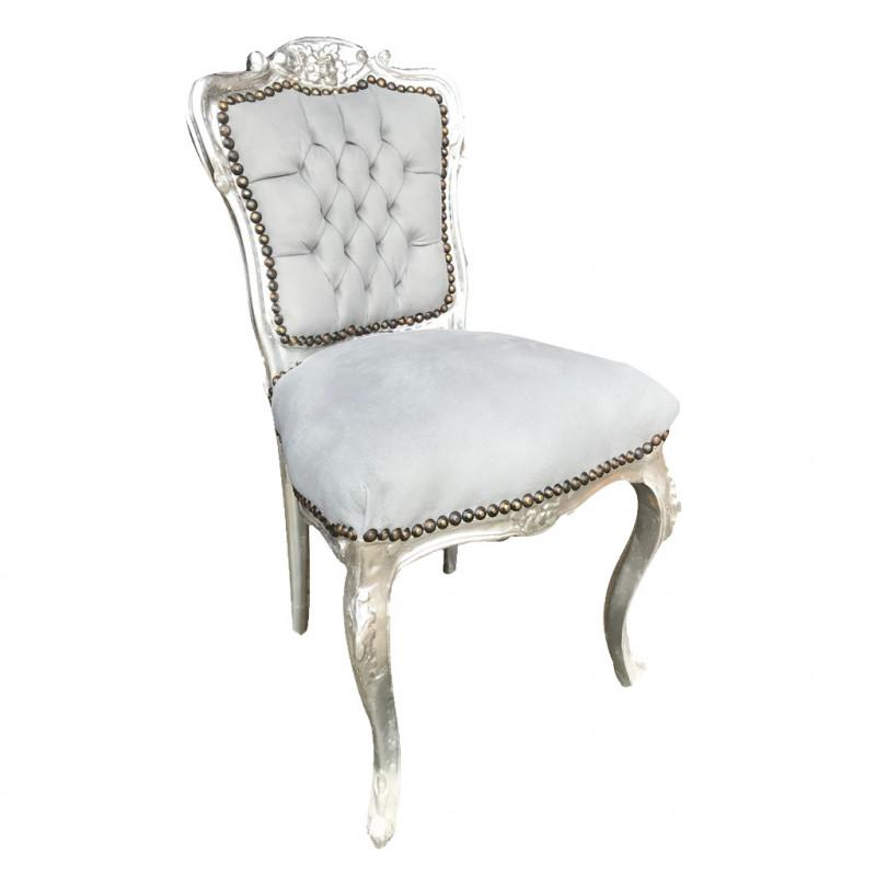 French Grey Chair  Grey Velvet Bedroom Chair  Silver Grey Velvet Chair   Grey Velvet French Armchair  Louis French Grey Chair  Vintage Grey French  Chair