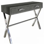 sq600-LF054-00-GY-2-Drawer-Grey-Faux-Snakeskin-Console-Table-1