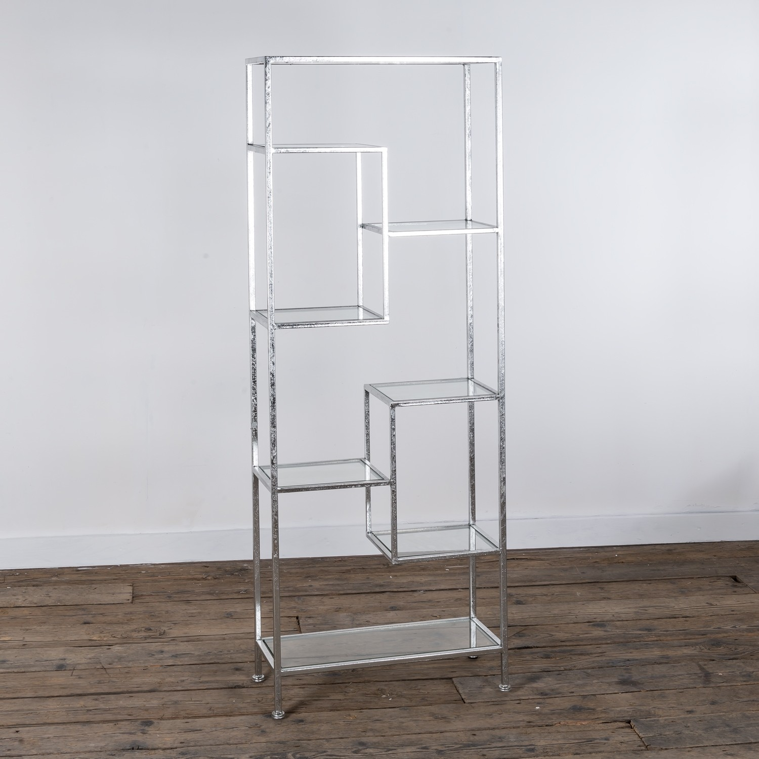 Metal shelving unit- Silver Gilt Leaf Metal Shelf- Silver Gilt Leaf ...