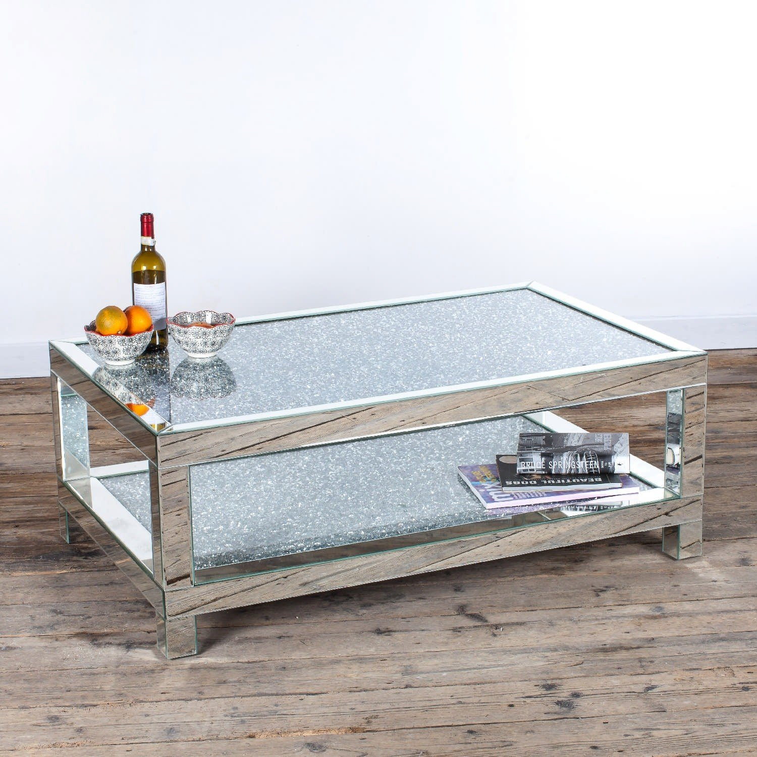 Diamond Crush Mirrored Venetian Glass Large Coffee Table