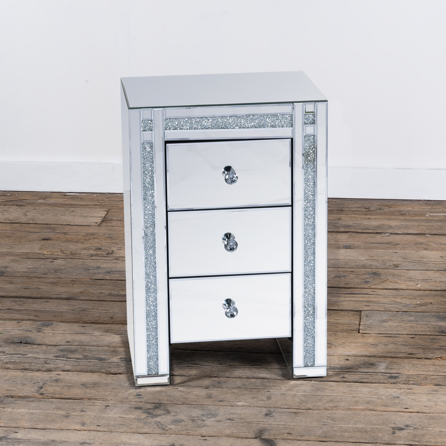 Crystal Diamond Mirrored Cabinet Glass 3 Drawer Cabinet