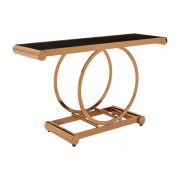 5501743-Fifty-Five-South-Modern-Large-Novara-Rose-Gold-Steel-Tempered-Glass-Top-Console-Table
