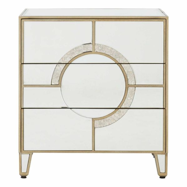 5502166-Modern-Knightsbridge-Silver-Mirrored-Glass-3-Drawer-Bedside-Table