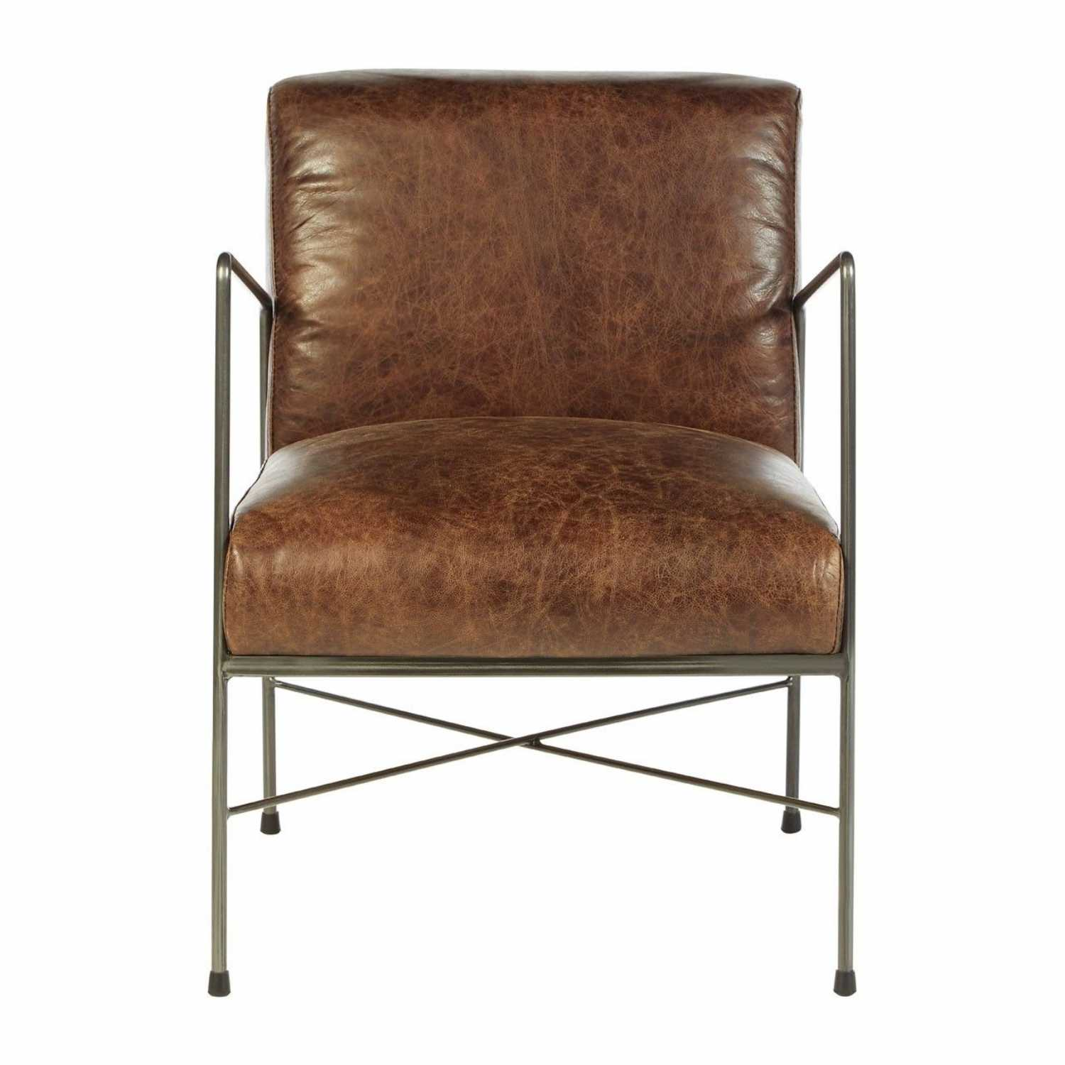 Industrial Style Hoxton Genuine Brown Leather Dining Chair Iron Legs