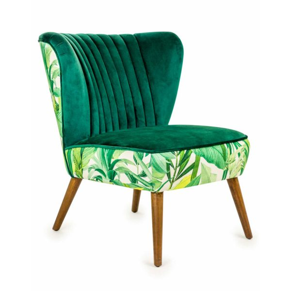 KA77-Tropical-Green-Leaves-Velvet-Style-Winged-Occasional-Chair-Wooden-Legs