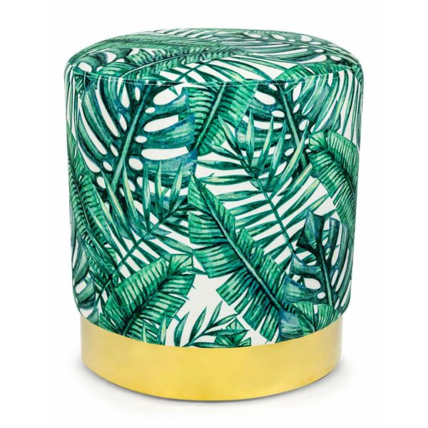 KA78-Tropical-Green-Leaf-Round-Stool-On-Gold-Base