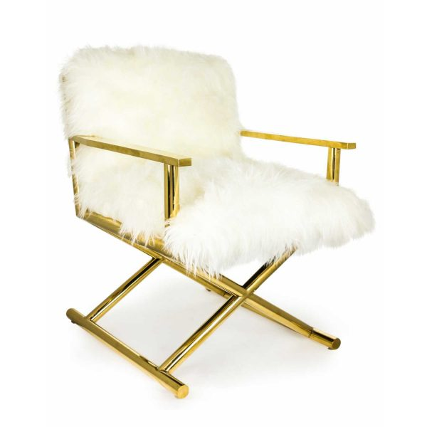 SVF04-Brass-Director-Style-Chair-With-White-Mongolian-Fur-Style-Seat