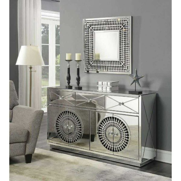 DHF205-Decorative-Large-Crystal-Mirrored-Glass-Sideboard-4-Doors-3-Drawers