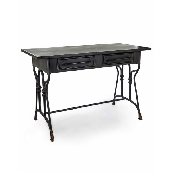 VRN14-Rustic-Retro-Large-Black-Metal-Verne-2-Drawer-Writing-Laptop-Desk-Table